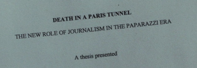Die Medienkritik in Hooligans ist nicht unangebracht, aber ziemlich einseitig. Hier sehen wir den Titel seiner Studienarbeit: Death in a Paris tunnel - The new role of journalism in the paparazzi era.