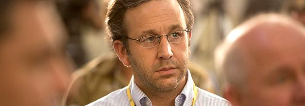 Ein Szene aus dem Film The Program: Der Journalist David Walsh stellt fest, dass er im Pressezentrum zunehmend isoliert ist.