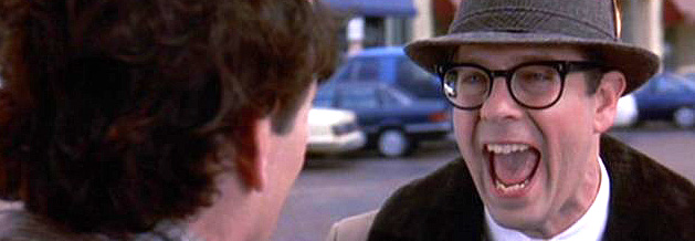 Szene aus dem Film Und täglich grüßt das Murmeltier: Phil Conners trifft auf seinen alten Schulfreund, den Versicherungsmakler Ned.