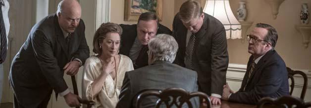 """Eine Frau unter Männern: Die Verlegerin ist auch ein Film über Emanzipation. Nach anfänglicher Unsicherheit lässt sich """"Kay"""" Graham nicht mehr von den Herren der Schöpfung belatschern: """"Ich habe Entscheidung getroffen. Und gehe jetzt ins Bett."""""""