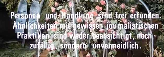 Der berühmte Disclaimer in Die verlorene Ehre der Katharina Blum. Der direkte Verweis auf die BILD-Zeitung fehlt im Film - aus wirtschaftlichen und juristischen Gründen.