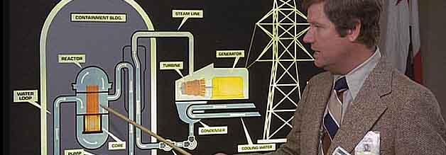 """""""Keine Bange, alles sauber!"""" - Der Pressesprecher des örtlichen Kraftwerks erklärt in blumigen Worten für Fernsehpublikum die Funktionsweise der Einrichtung."""