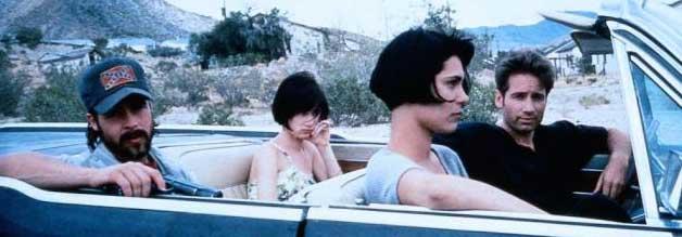 Merkwürdige Reisegruppe: Alle vier Hauptdarsteller - Pitt, Lewis, Forbes und Duchovny (von links) - standen zur Entstehung von Kalifornia am Anfang ihrer Karrieren.