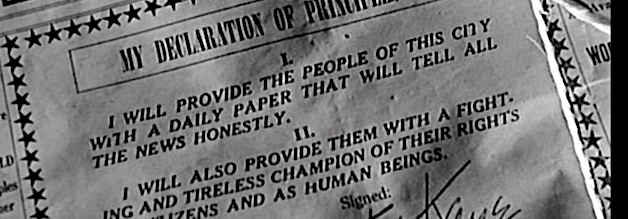 Da ist der journalistische Kompass noch in Ordnung: Charles Foster Kane erklärt auf der Titelseite des New York Inquirer seine zwei Kern-Prinzipien.